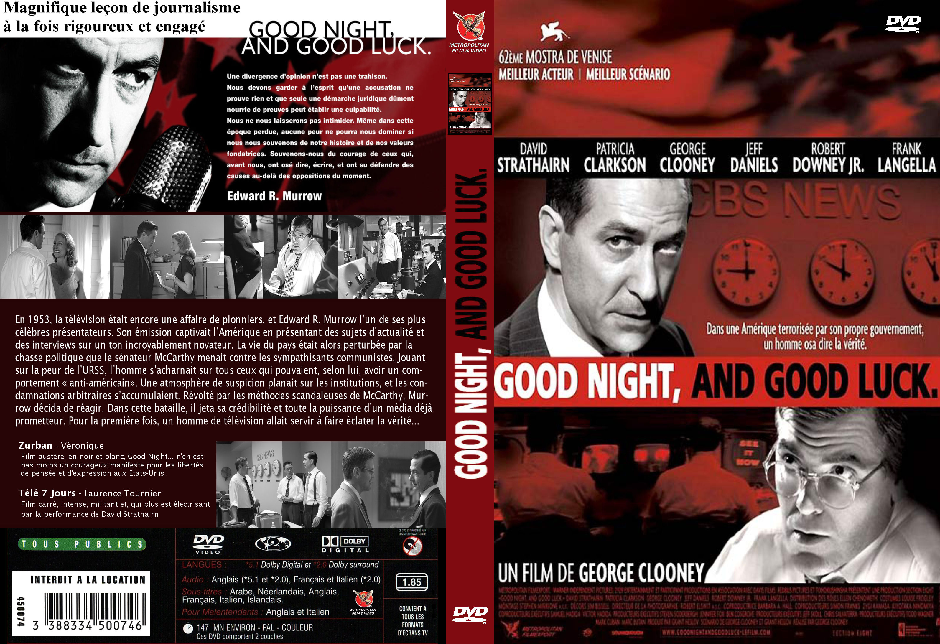 edward murrow as a symbol of broadcast journalism in good night and good luck a film by george cloon George clooney's second directorial effort good night, and good luck depicts the attempts by legendary broadcast journalist edward r murrow to take down us senator joseph mccarthy in the 1950s.