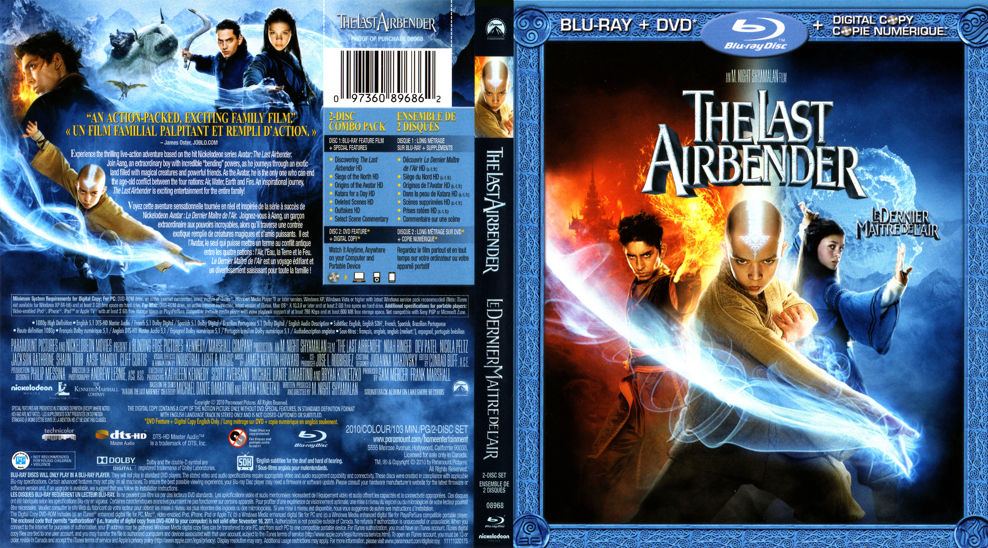 image the last airbender dvd blu ray cover art jpg. Black Bedroom Furniture Sets. Home Design Ideas